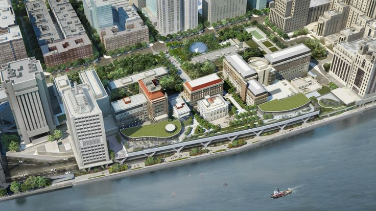 Rockefeller University River Campus Master Plan and New Laboratory Building | Rafael Viñoly Architects |  Aerial view.