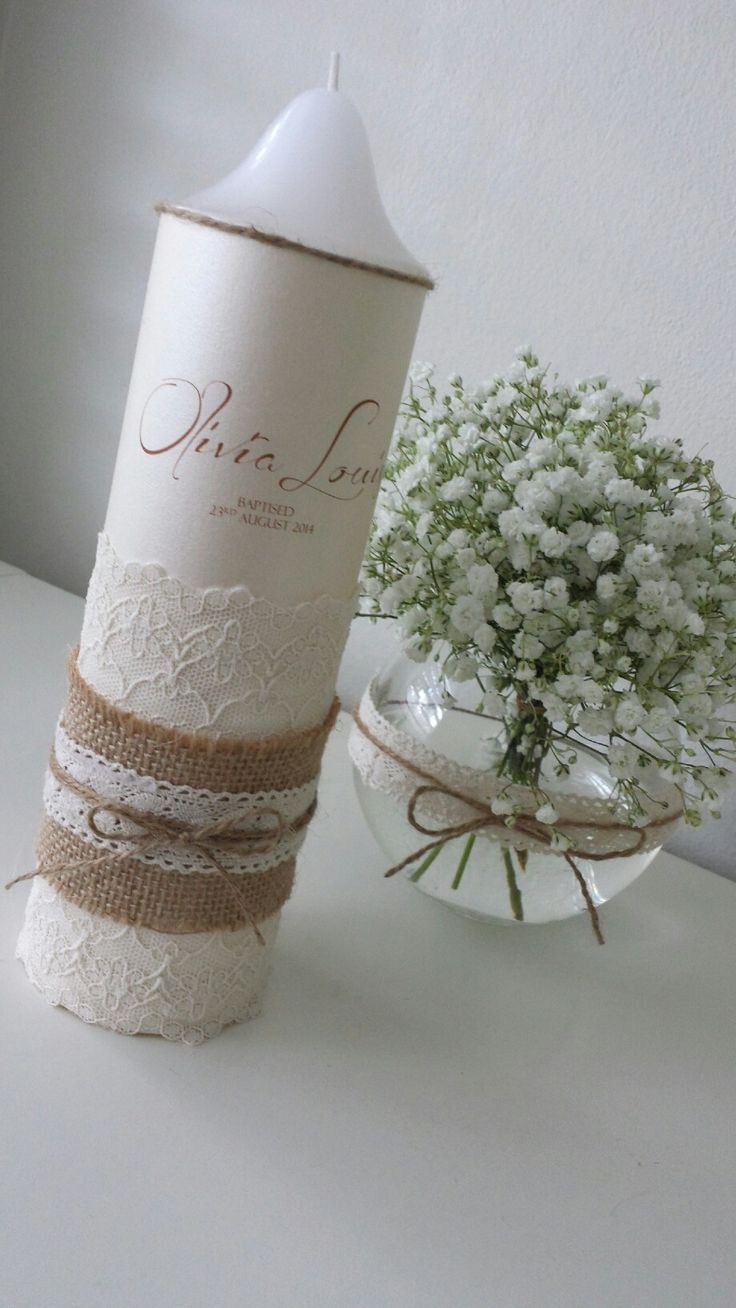 Personlised christening candle with gorgeous lace and rustic hessian