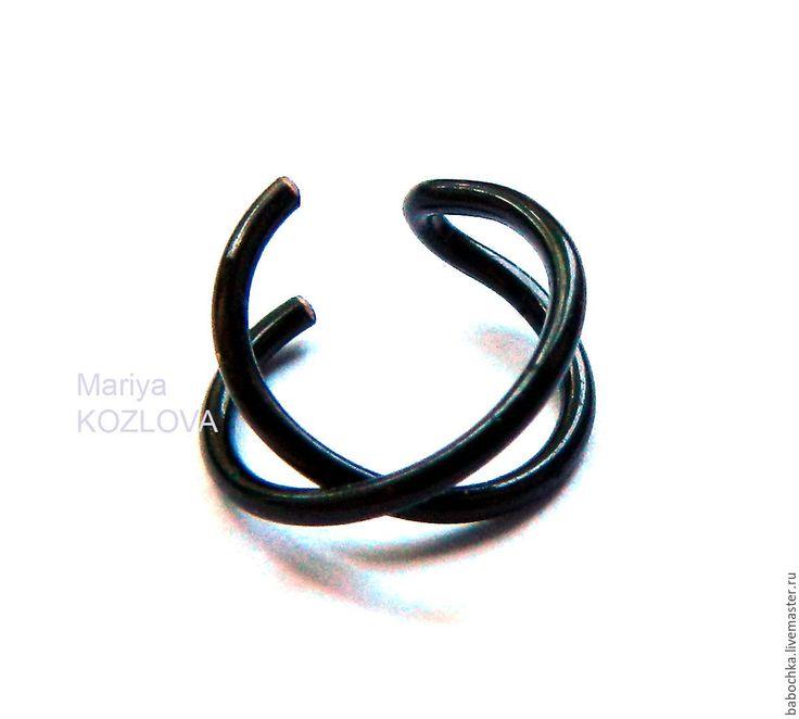 Купить Criss Cross Чёрный Кафф на хеликс ушка/ пирсинг-обманка - кафф, ушная клипса