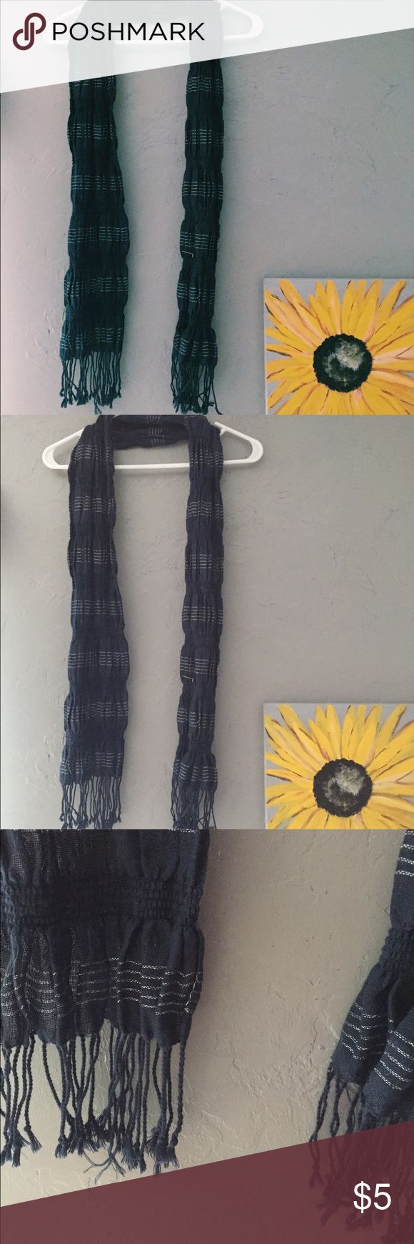 navy blue scrunch scarf! purchased this scarf at a local deb shop!(: sells brand clothing! navy blue, sparky material, stringy at the bottom(: Accessories Scarves & Wraps