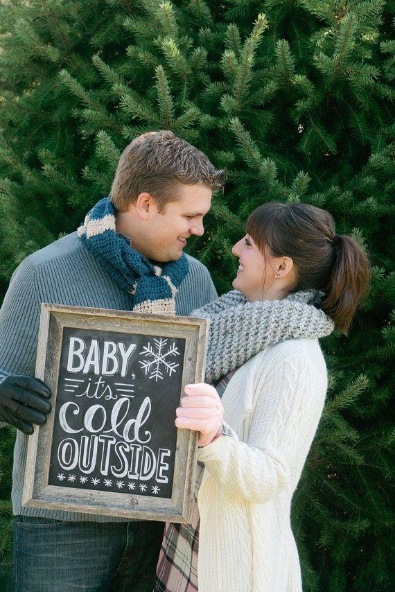 Baby It's Cold Outside - 11 x 14 Print - Chalkboard Art - Winter Decor - Winter Wedding Print