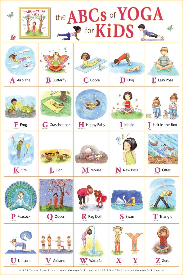 "Kathleen Rietz - Illustration and Design: ""The ABCs of Yoga for Kids"" poster. Pinterest @nostalgicnora"