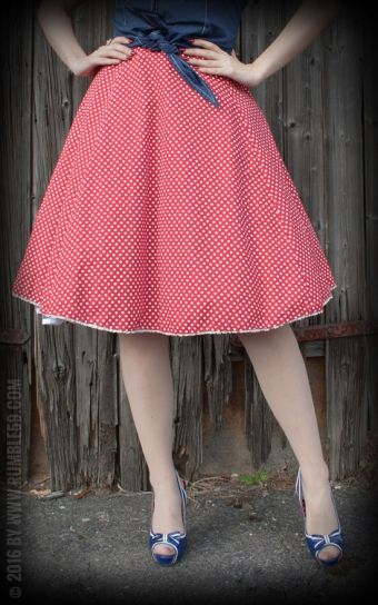 Rumble59 Ladies - Tellerrock - Sweet Polkadots - weinrot red skirt white dots rok rood witte stippen
