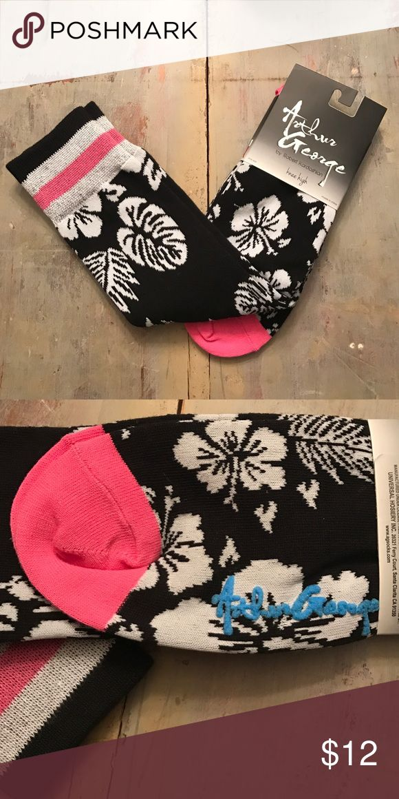 Arthur George knee high socks by Rob Kardashian Soft Hawaiian prints black white & pink. Arthur George  Accessories Hosiery & Socks