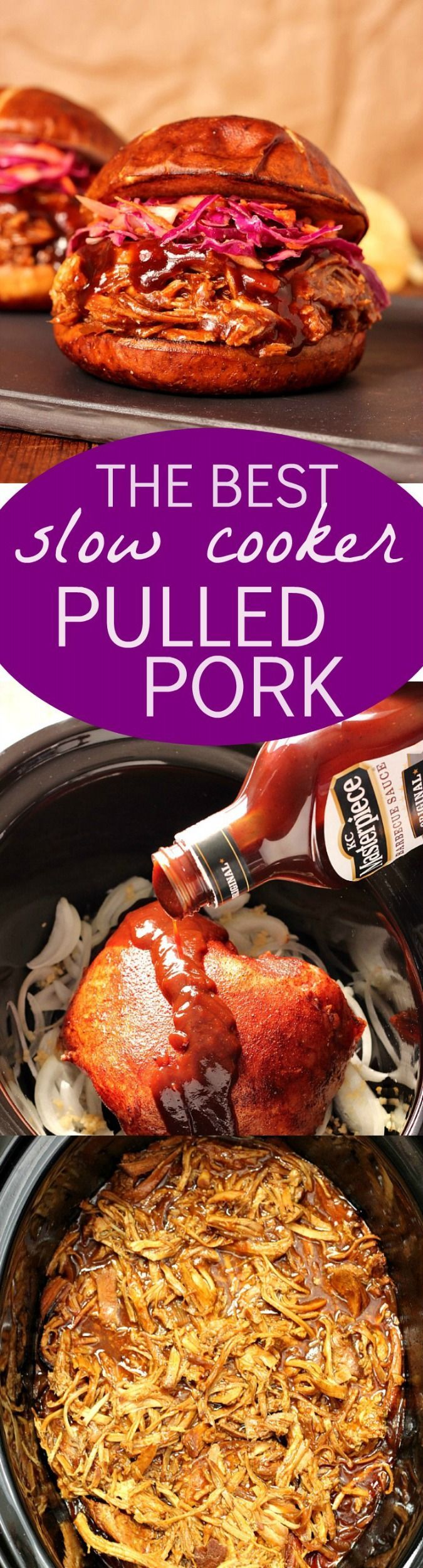 The Best Slow Cooker Pulled Pork - with just a few ingredients and minimal prep time you can make the best pulled pork right in your slow cooker! A side of red cabbage and apple slaw is all you need to make it into one delicious dinner!