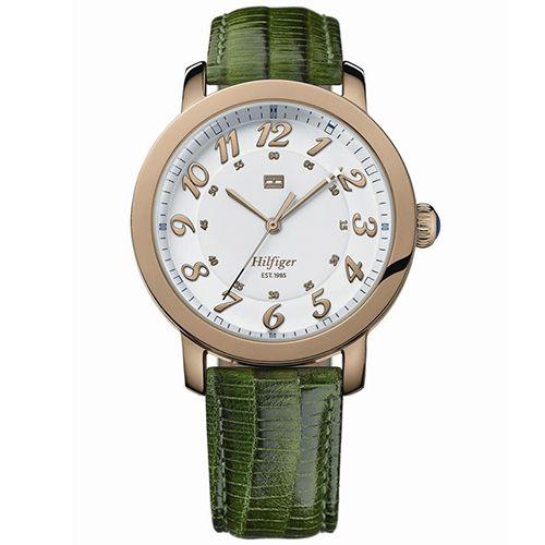 Relógio Feminino Tommy Hilfiger com pulseira de couro verde. 1781221