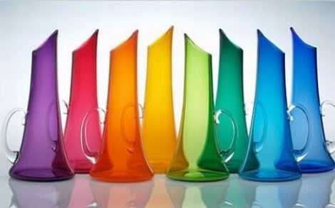 Colorful glass pitchers. These are handblown by Vermont artist Nick Kekic (Tsuga Studios)