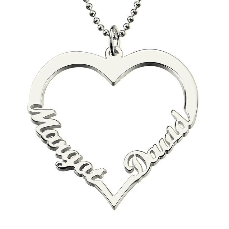 Heart name pendant with 2 Names  Silver Necklace // Price: $37.00 & FREE Shipping Worldwide //     #fashion #style #stylish #love #nails #hair #beauty #beautiful