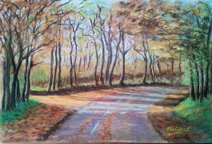 Paysage d'automne au pastel par Marian Cobos