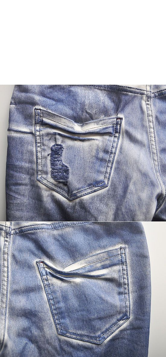 Bottoms :: Jeans :: Tough-chic Damage Skinny-Jeans 69 - Mens Fashion Clothing For An Attractive Guy Look