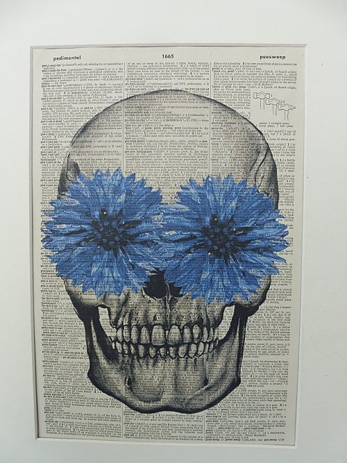 Skull with Blue Flowers Dictionary Wall Art by DecorisDesigns