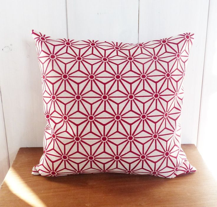 housse de coussin 40 x 40 cm jacquard rouge etoiles asanoha motifs g om triques losanges. Black Bedroom Furniture Sets. Home Design Ideas
