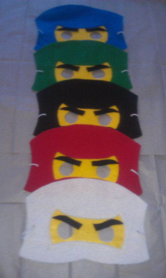 Ninjago Felt Mask.  Set include 5 masks by miriamsolano on Etsy, $25.00