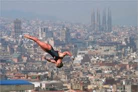 1992 Mary Ellen Clark with the Barcelona Skyline as her backdrop