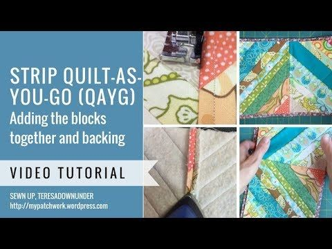 Strip quilt as you go complete with backing - video tutorial - YouTube