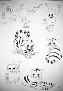 Affe und Tiger - Zeichnung und Illustration für Kinder - Malvorlage erstellen