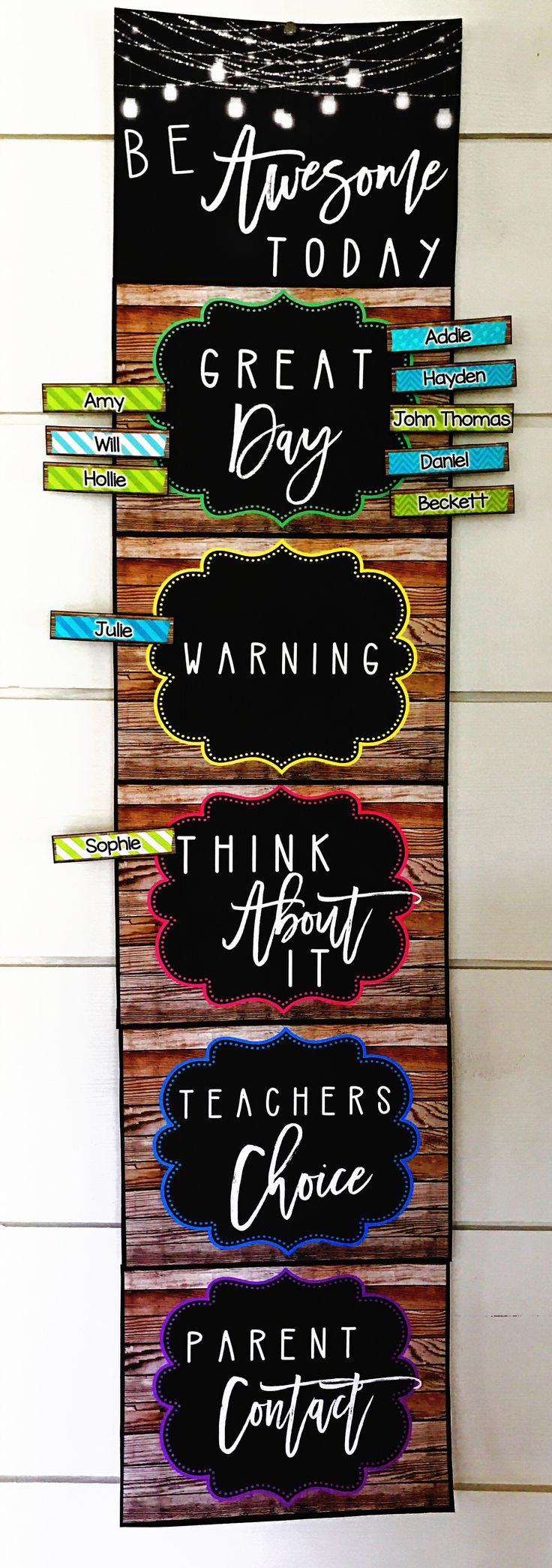 """My newest farmhouse classroom decor is rich with charm! It is full of galvanized metal, shiplap, wood grains, chalkboards, and a little green and teal to liven it up! It is sure to give you the PERFECT """"home away from home."""" This clip down behavior chart is perfect for keeping your students on task. Students begin each day on green and clip down for misbehavior."""