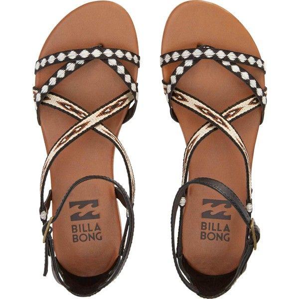 Billabong Women's Golden Tidez Sandals ($50) ❤ liked on Polyvore featuring shoes, sandals, flats, footwear, off black, black shoes, black braided sandals, billabong sandals, ankle strap shoes and black sandals