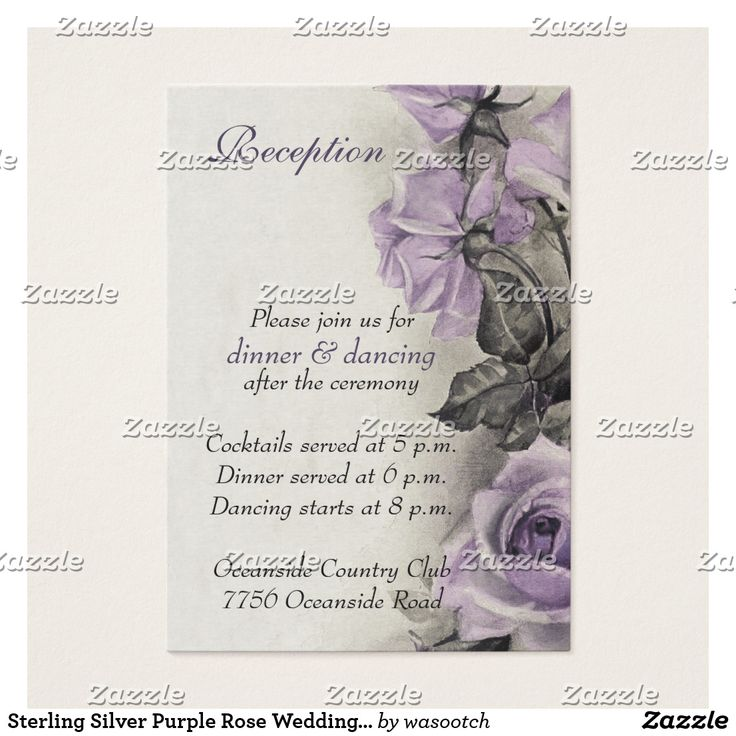 Sterling Silver Purple Rose Wedding Reception Card The text on these elegant vintage sterling silver amethyst puprle rose wedding reception cards is fully customizable. To change it use the personalize option. For more extensive changes, including changes to the font, font color, font size, or text placement, use the customize option. Note, these are ordered in batches of minimum 100. If smaller numbers are required, the reply card in this line, with changes to the text, could also be made…
