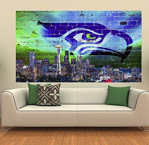 "Seattle Skyline Football (39"" x 22"")"