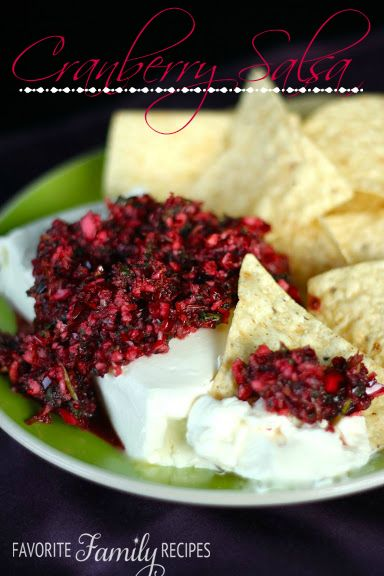 Cranberry Salsa Recipe ~ Says: incredible sweet/tangy flavor... it looks festive- a great appetizer for Christmas/Holiday parties. It is great on it's own but we like it best over cream cheese then we like to use anything from tortilla chips to crackers to scoop it up. It is also really good on meats (like a relish)- we had it on our turkey for Thanksgiving and it was amazing!