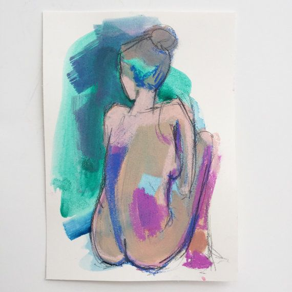Lady Jade Original watercolor figure drawing by KristineBrookshire