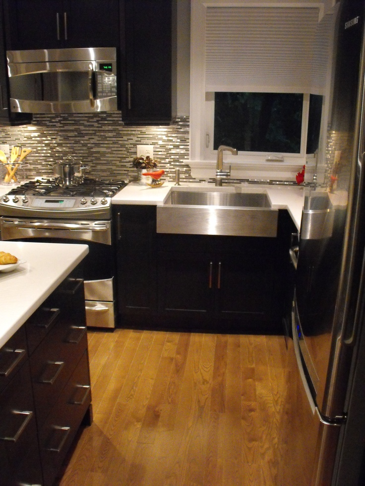 Love That Stainless Steel Farmhouse Sink, Tile And Dark Cupboards. Find  This Pin And More On Hilary Farr Kitchens ...