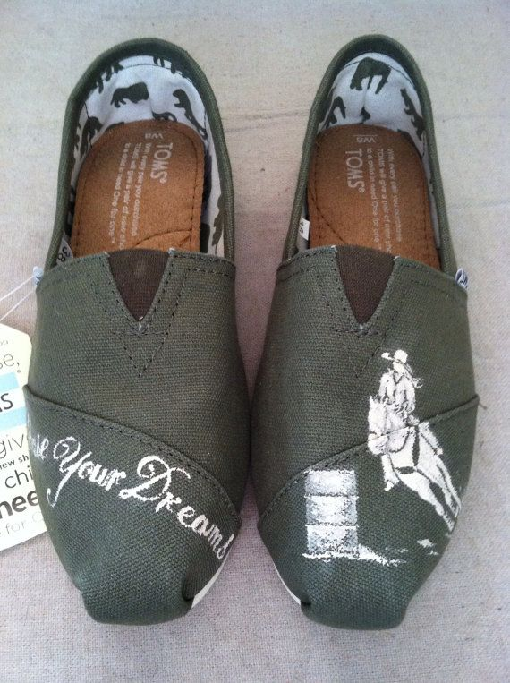 Olive green Tom's with hand painted barrel racer by TravelinJones, $50.00