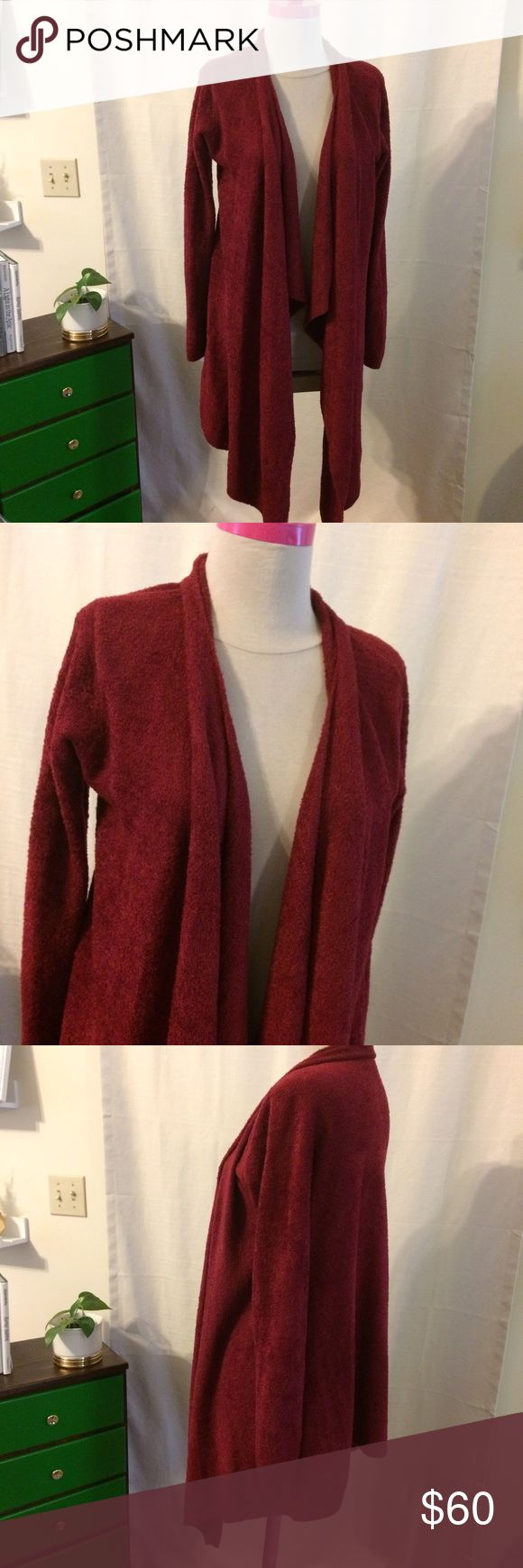 Bamboo chic lite drape front cardigan This is the most cozy sweater I've ever worn! Great maroon flowy cardigan.  Fantastic condition!  Sooooo soft! Barefoot Dreams Sweaters Cardigans