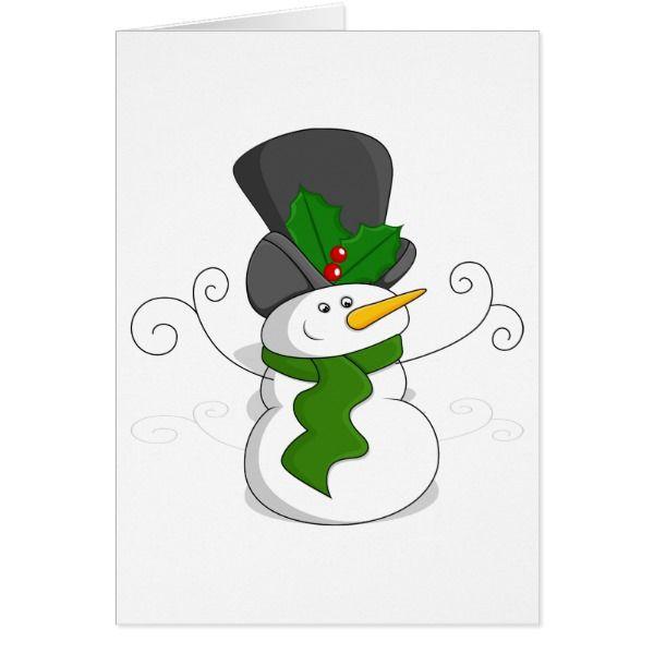 Festive Christmas Snowman Cartoon Card #cards #christmascard #holiday