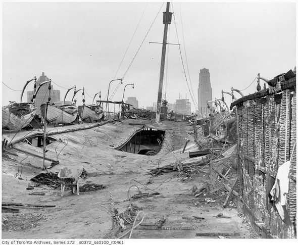 toronto 1940s - The Royal York hotel and skyline from the gutted upper deck of the SS Noronic. The lake steamer nicknamed The Queen of the Lakes caught fire while docked on the Toronto waterfront in early hours of September 17, 1949, killing 118 people.