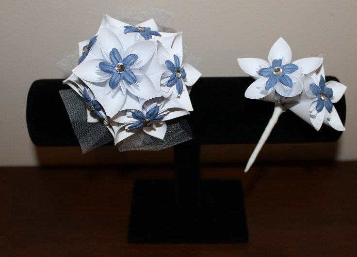 White and Blue-Grey Corsage & Boutonniere - Alternative Wedding Flowers - Prom Corsage and Boutonniere. $25.00, via Etsy.  #wedding #paperflowers #etsy #handmade #rustic #corsage #boutonniereCorsage Boutonnieres, Wedding Flower