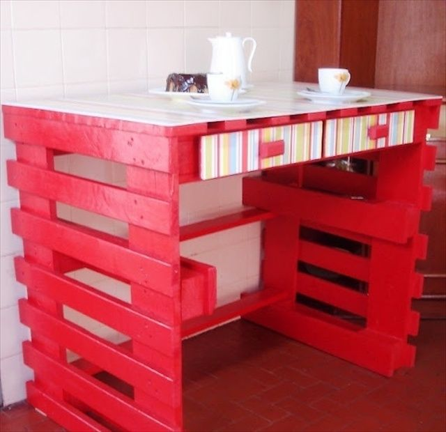 Pallet desk attached with wall.