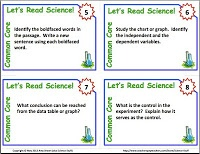 Common Core Science Informational Text Task Cards