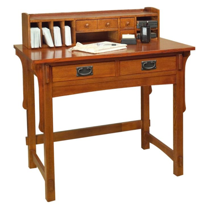 Arts and crafts small desk with hutch create a complete for Craftsman style desk plans
