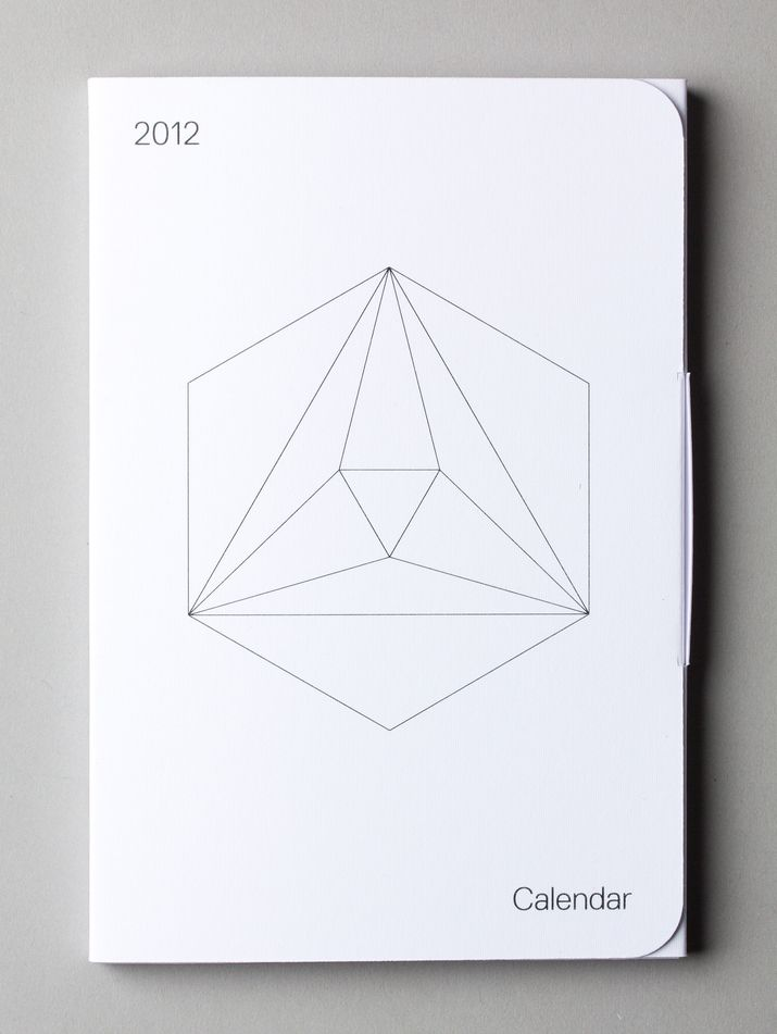 2012 calendar  -  Self initiated, Packaging  -  01/2012  -  2012 calendar made by Lo Siento to give as a gift. Each of the polyhedrons has different number of faces, corresponding with the number or each month.