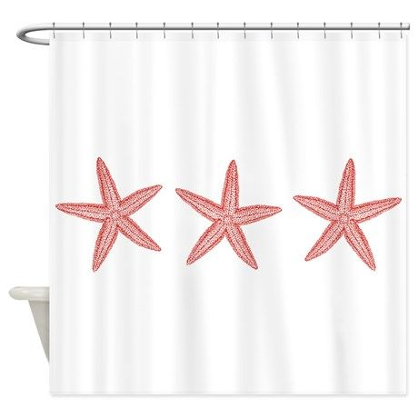 Coral Pink Starfish Shower Curtain on CafePress.com