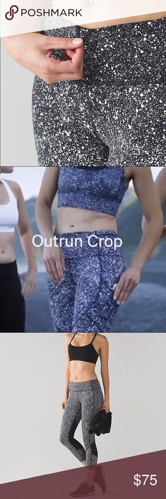 """Lululemon Outrun 17"""" Crop Lululemon Outrun 17"""" Crop in splatter white and black. Brand new with tags never worn. Complete product details can be found here but this colorway is no longer carried. https://shop.lululemon.com/p/women-crops/Outrun-17-Crop/_/prod8260049?rcnt=7&N=7yr&cnt=18&color=LW6AAXS_027754 lululemon athletica Pants"""