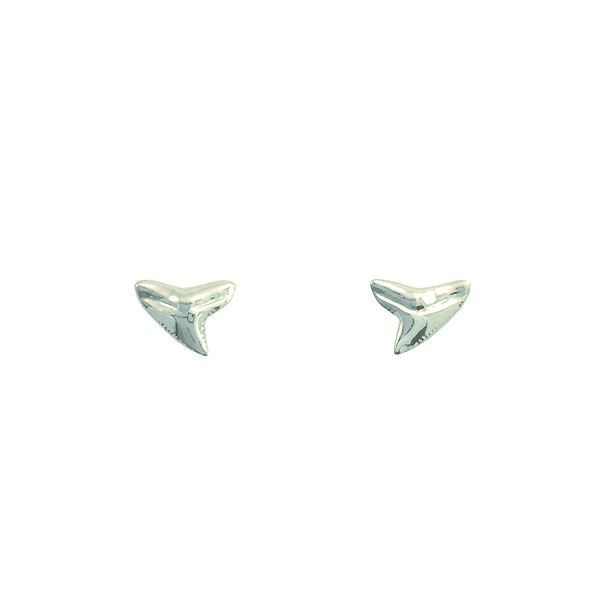 This listing is forone pair of stud earrings   The shark tooth is 8.5mm wide   These small shark tooth studs are cast from real shark teeth   Available in Sterling Silver, 14kt Rose Gold over Silver, or 14kt Vermeil   14kt Vermeil is 14kt Gold plated over solid sterling silver   Ships worldwide from United States