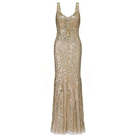 Buy Aidan Mattox Long Beaded Dress, Champagne Online at johnlewis.com