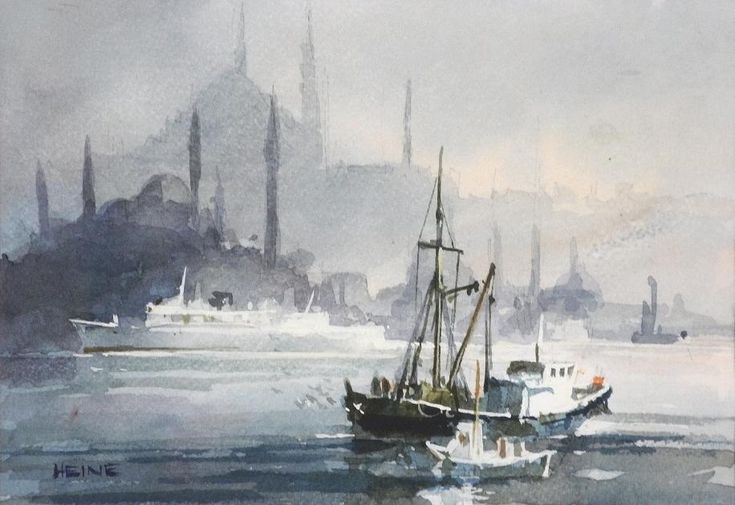 Istanbul Morning, working sketch, n.d., Harry Hiene, R.S.M.A., R.C.A., C.S.M.A., watercolour, 5 1/2 x 8 in., Brentwood Bay, Victoria, BC, Canada.
