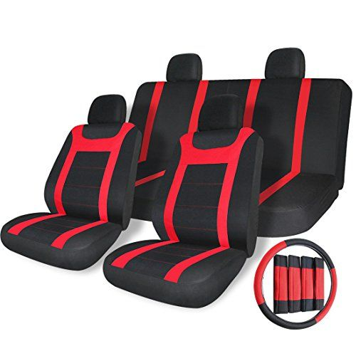 Copap 17pcs Car Truck SUV Seat Covers Universal Full Set Steering Wheel Cover Mesh Fabric Front Airbag Compatible Black / Red Fit Most Car Truck Suv Van. For product info go to:  https://www.caraccessoriesonlinemarket.com/copap-17pcs-car-truck-suv-seat-covers-universal-full-set-steering-wheel-cover-mesh-fabric-front-airbag-compatible-black-red-fit-most-car-truck-suv-van/