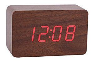 Amazon.com: Konigswerk New Wooden Series Modern Mini Rectangle Wood Grain Calendar Thermometer Activated Desk Super Soft Night Light LED Digital Alarm Clock (Brown-Red) AC024G: Home & Kitchen