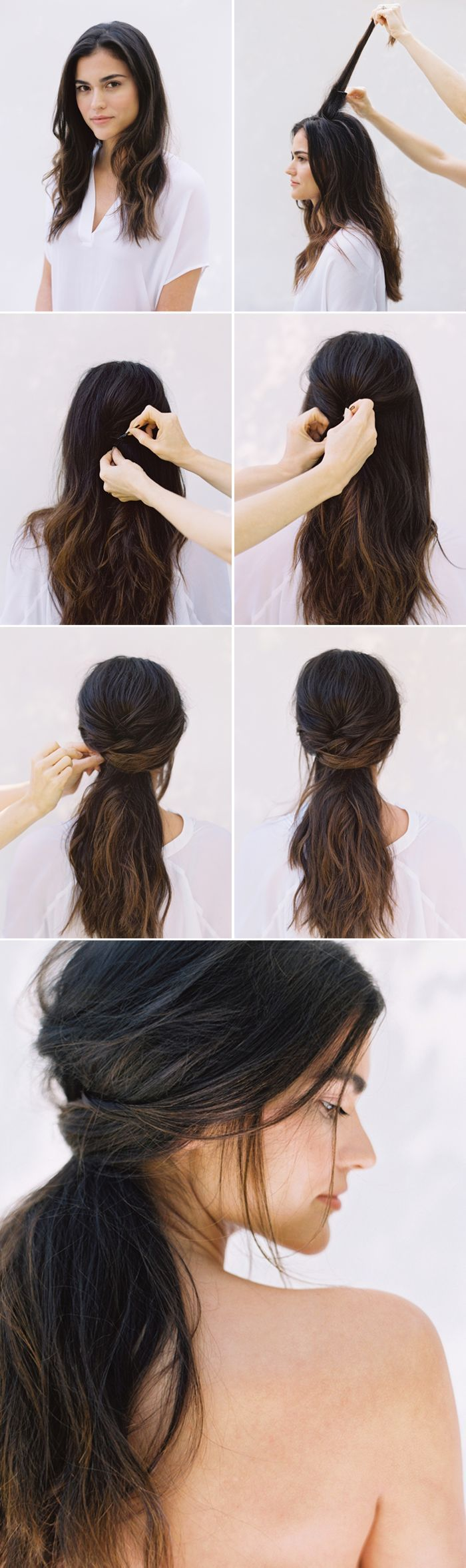 DIY Half Up Half Down Wedding Hairstyle                                                                                                                                                                                 More