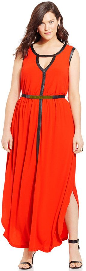 Bold and sexy!  Plus Size Faux-Leather-Trim Belted Maxi Dress