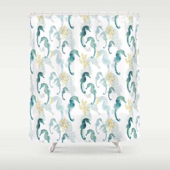Pointillism Seahorse Shower Curtain