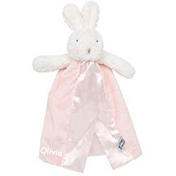 Personalized Bunnies By The Bay Blossom Pink Bye-Bye Buddy Bunny Baby Blanky Blanket