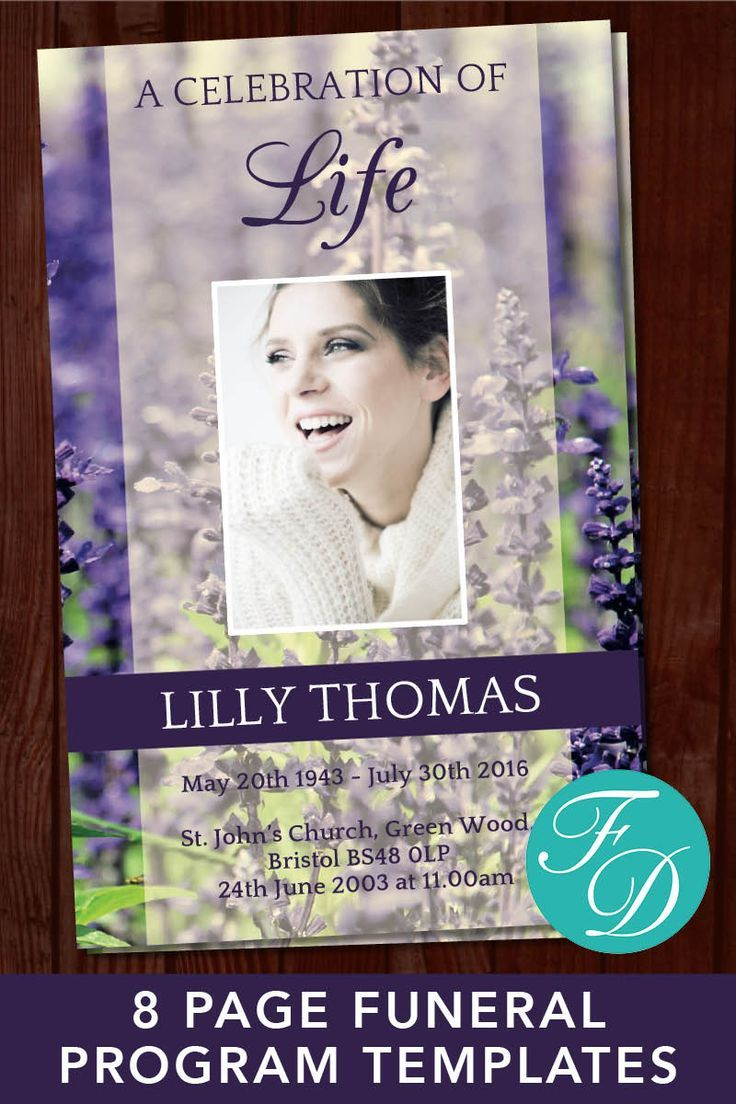 funeral program template lavender 8 page program order of
