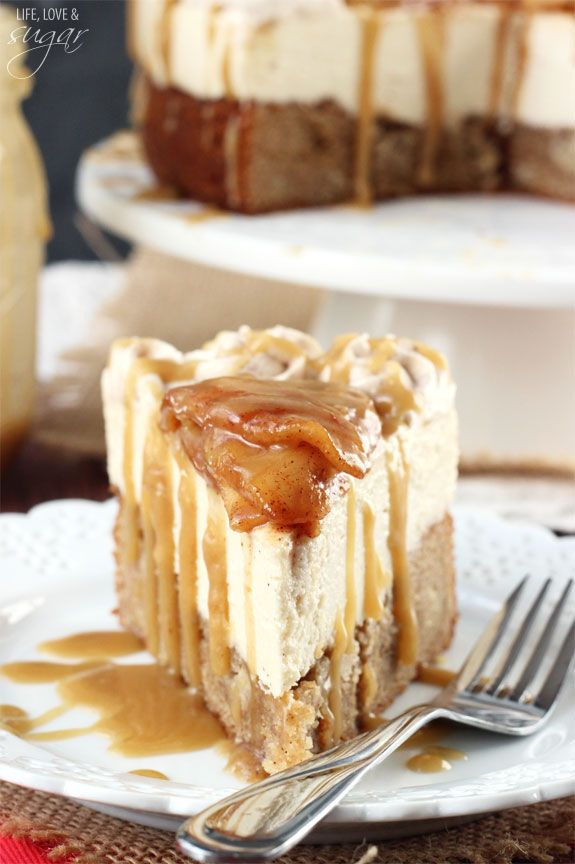 Caramel Apple Blondie Cheesecake - apple spice blondie topped with no bake caramel cheesecake, topped with cinnamon apples and caramel sauce. Yum!