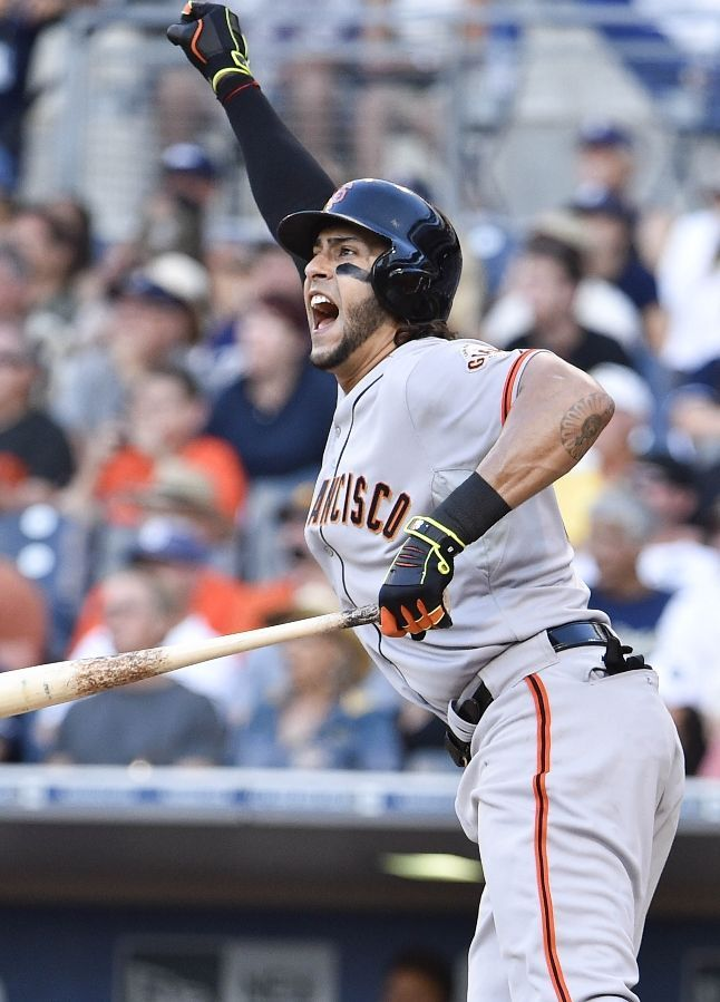SAN DIEGO, CA - JULY 5: Michael Morse #38 of the San Francisco Giants celebrates after hitting a solo home run during the ninth inning of a baseball game against the San Diego Padres at Petco Park July 5, 2014 in San Diego, California. (Photo by Denis Poroy/Getty Images)